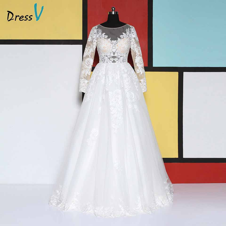 Dressv elegant scoop neck wedding dress ball gown lace appliques long sleeves floor length bridal outdoor&church wedding dresses