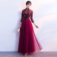 2018 Red Modern Cheongsam Sexy Qipao Traditional Chinese Dress Evening Dresses Vestido Oriental Bride Traditions