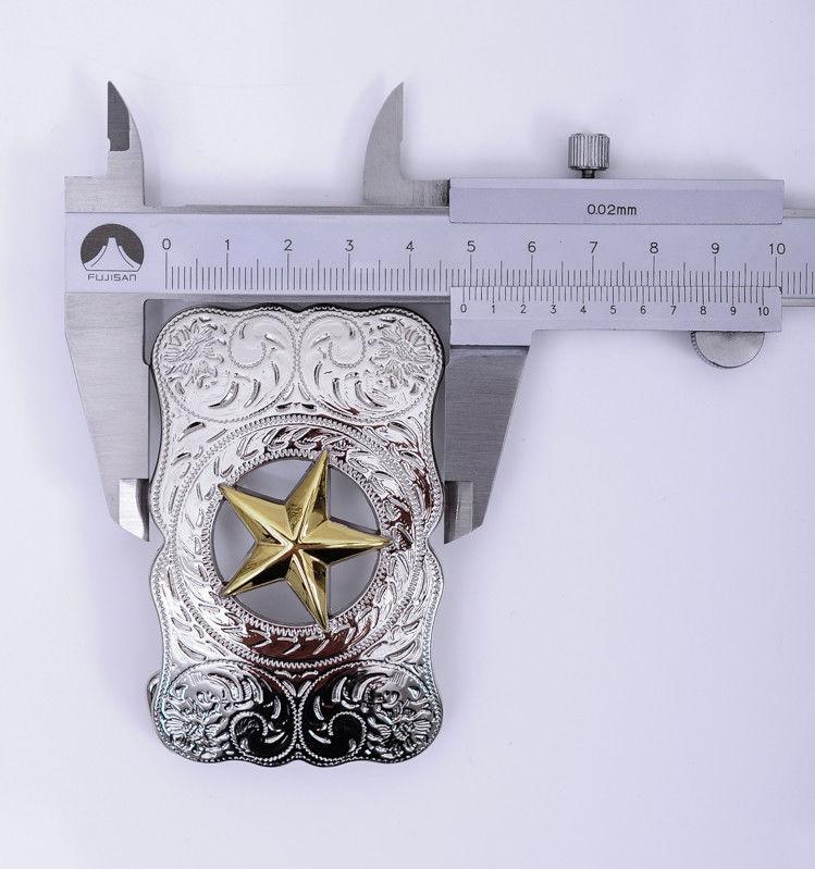 WESTERN COWBOY LONG HUGE SLIVER GLOD TEXAS RANGER STAR RODEO HUGE BELT BUCKLE