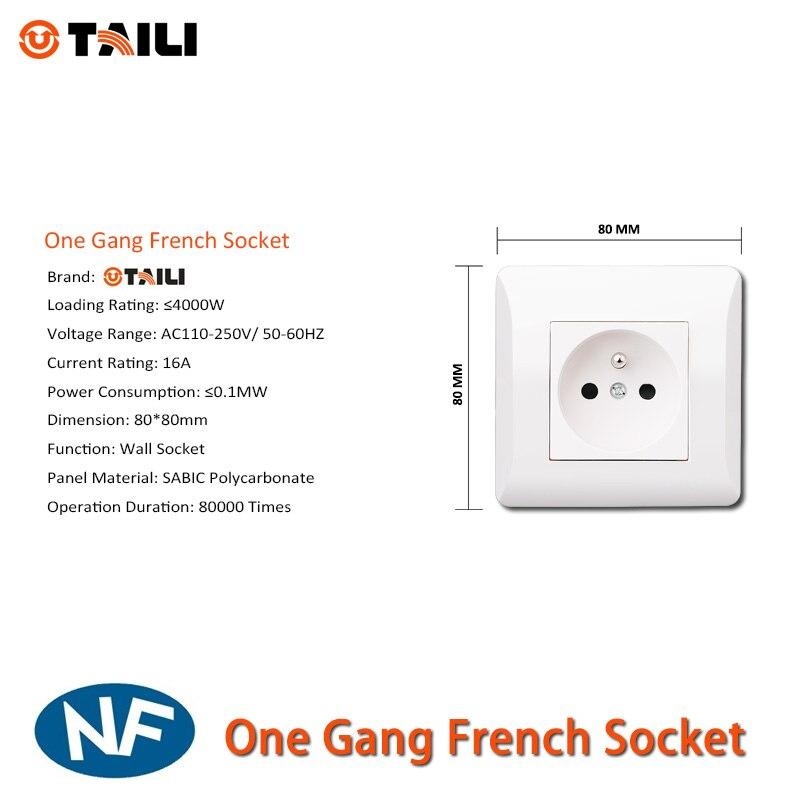 TAILI EU Standard Wall Socket Wall outlet Power French Socket Plug ...