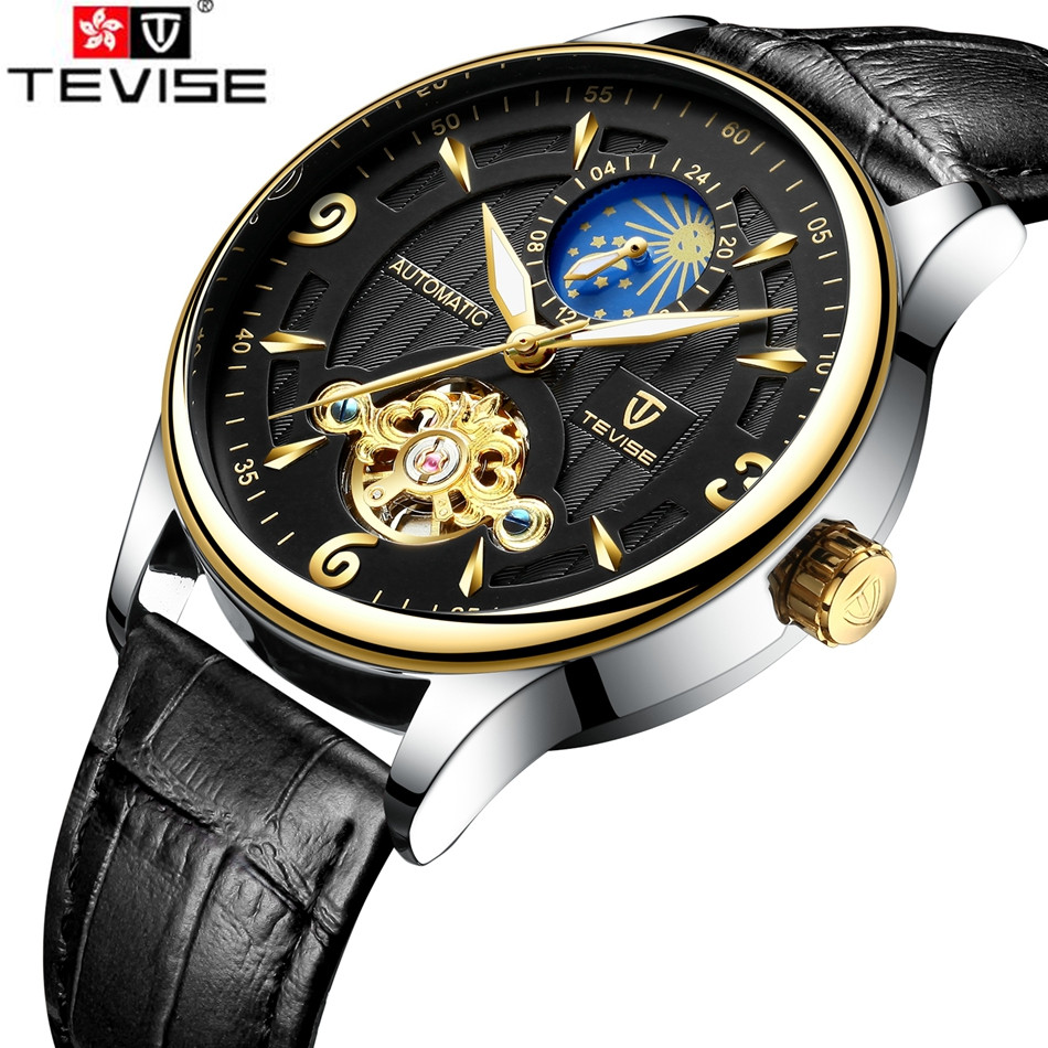 New Tevise Wristwatches Mens Top Brand Luxury Day Moonphase Auto Watch Mechanical Watches Wristwatches Gift Box Free Ship cangma original newest woman s shoes mid fashion autumn brown genuine leather sneakers women deluxe casual shoes lady flats