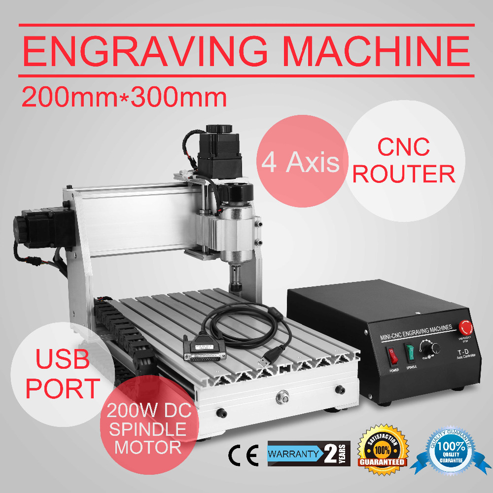 Atualizado New CNC 3020 t Router Gravador/Gravura De Perfuração e Fresadora 4 Quatro Eixos