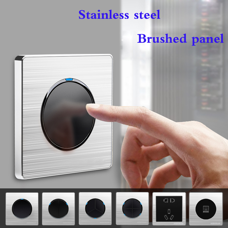 1 2 3 4 Gang 1 2 Way Brushed Stainless Steel Light Socket Any Click Point Control Wall Socket Switches Panel With Led