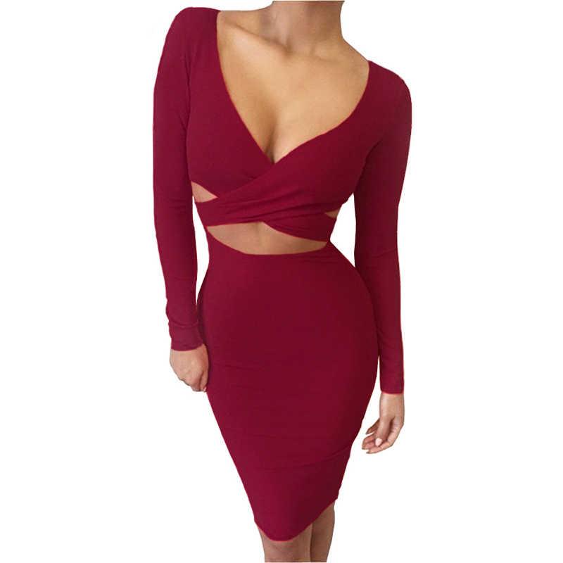 Nadafair сексуальное Миди карандаш для клуба, облегающее, Бандажное Платье женское осенне-зимнее платье с длинным рукавом красное черное белое вечернее платье vestidos