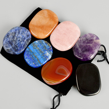 7pcs/Pack Natural Energy Gemstone Palm Massage Health Care SPA Chakra Crystal Stone Mineral Reiki Healing 45*35mm Jade Massager