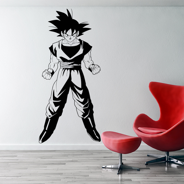 Dragonball z inspired goku 3d wall sticker vinyl animated movie cartoon home decor diy wall decal