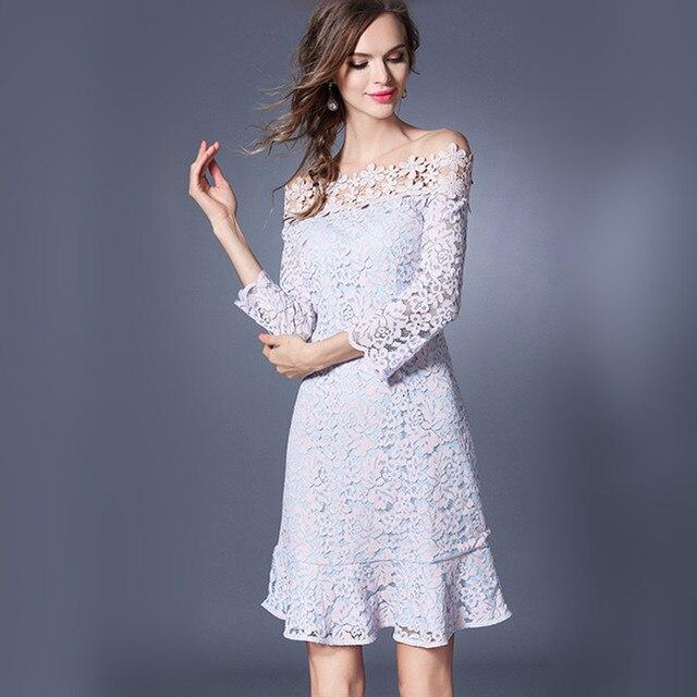 Flower Lace Hollow-Out Off the Shoulder Slash Neck Cute Mini Dresses Summer  A- 044fb907ef70