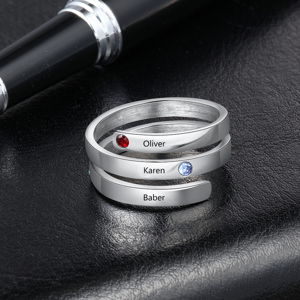Personalized Family Gift Customized Mother Ring with 3 Birthstones Engraved Name Ring Female Fashion Jewelry JewelOra RI103804 in Rings from Jewelry Accessories