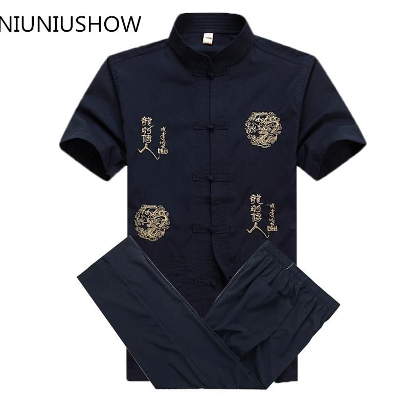 New Chinese Men Cotton Kung Fu Suit Embroidery Wu Shu Uniform Tai Chi Clothing Short Sleeve Shirt+Pant M L XL XXL XXXL