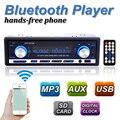 12 В Автомобильный Радиоприемник BLUETOOTH Стерео Аудио В тире FM Приемник Aux вход USB/SD Аудио MP3 автомагнитолы 1 Din 60Wx4 Съемный панели
