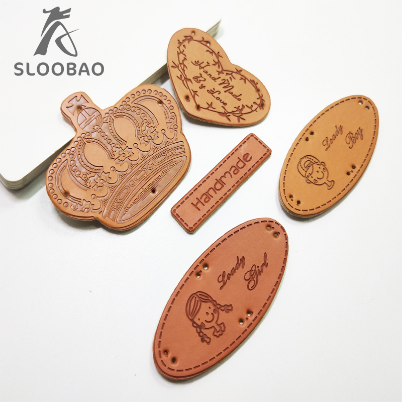 10pcs Handmade DIY PU Leather label tag Sewing clothes clothing shoes bags garment jeans crown goody girl boy in Garment Labels from Home Garden