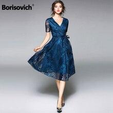 ФОТО borisovich new 2018 summer fashion short sleeve v-neck knee-length elegant ladies party dress women casual lace dresses m035