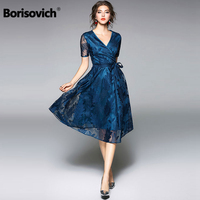 Borisovich New 2018 Summer Fashion Short Sleeve V neck Knee length Elegant Ladies Party Dress Women Casual Lace Dresses M035