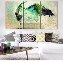 Abstract Home Decorative for Bedroom 3 Piece Canvas Art Girl Dancing Painting Living Room Wall Decoration Poster