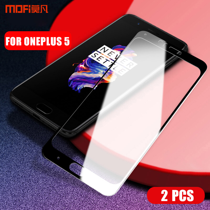 Για Oneplus 5 Tempered Glass MOFi One Plus 5 Tempered Glass film 1 + 5 full cover Screen Protector glass oneplus 5 film glass