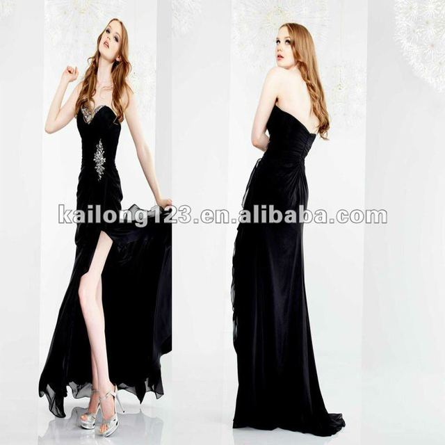 Popular Sweetheart Fitted Long Black Sequins Beads High Slit Chiffon Prom Dresses 2012
