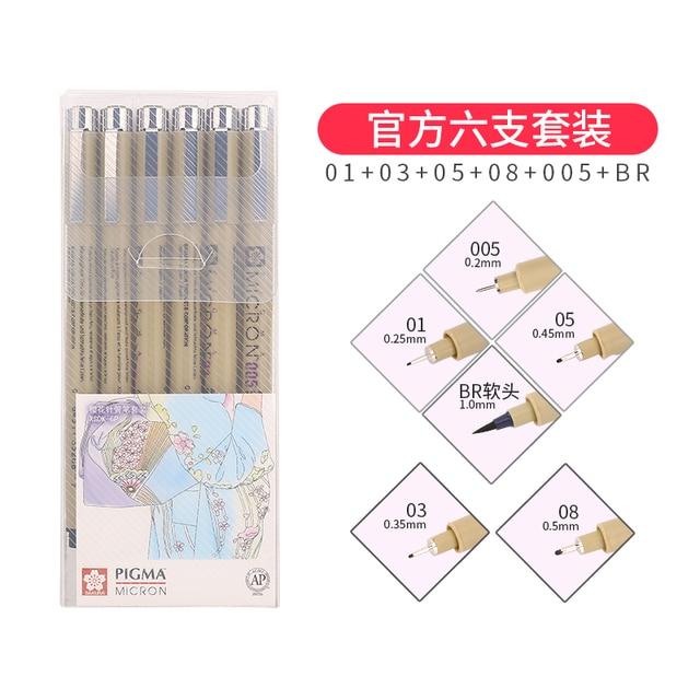 LifeMaster Sakura Pigma Micron Drawing Pen Liner 9pcs/7pcs/4pcs set 005/01/02/03/04/05/08/1mm/brush Graphics Design