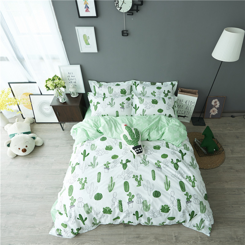 Charming Cactus Printing Bedding Set 100% Cotton Bedding Adults Kids Bedroom Sets  Duvet Cover Sets Bed Sheet Pillowcase Cartoon Bedding