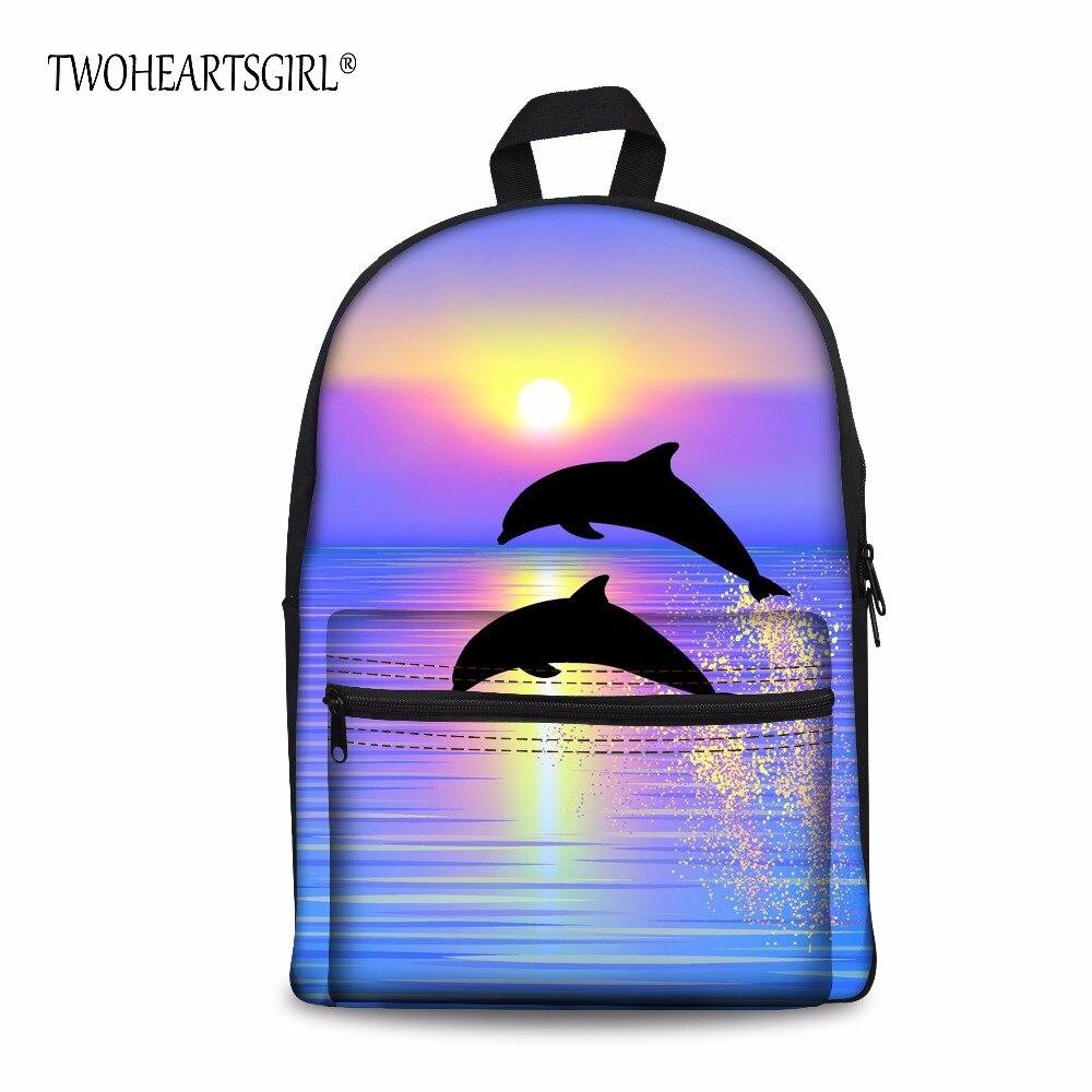 Mochila de Poliéster com Bolsa Twoheartsgirl Crianças Sólido Golfinhos Tubarões Padrão Daypack Estudante Viagem Infantaria Pacote Personalizado