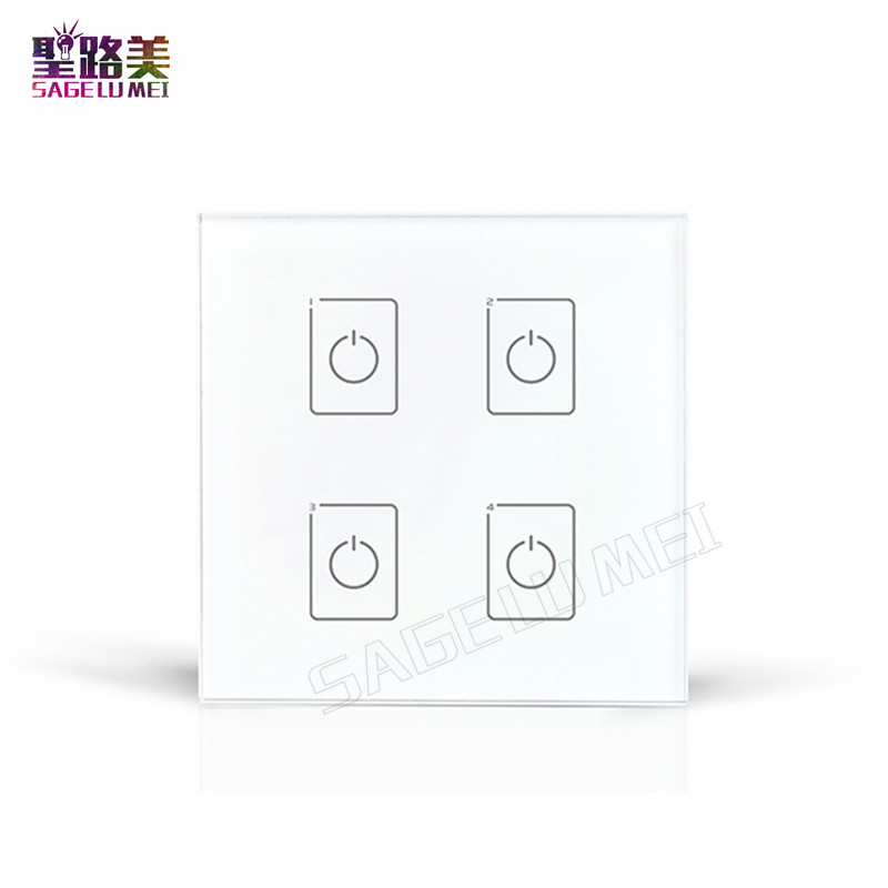 LTECH DA4 Wall Mount Touch Panel 4CH 4 Channel Control On/Off Switch Dimmer LED Controller DALI Series for LED Light lamp panel ltech da2 touch panel 2ch 2 channel control on off switch dimmer wall mount led controller dali series for led light ac220v