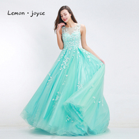 Green prom dresses 2017 new style o neck sleeveless appliques tulle floor length dresses a line.jpg 200x200