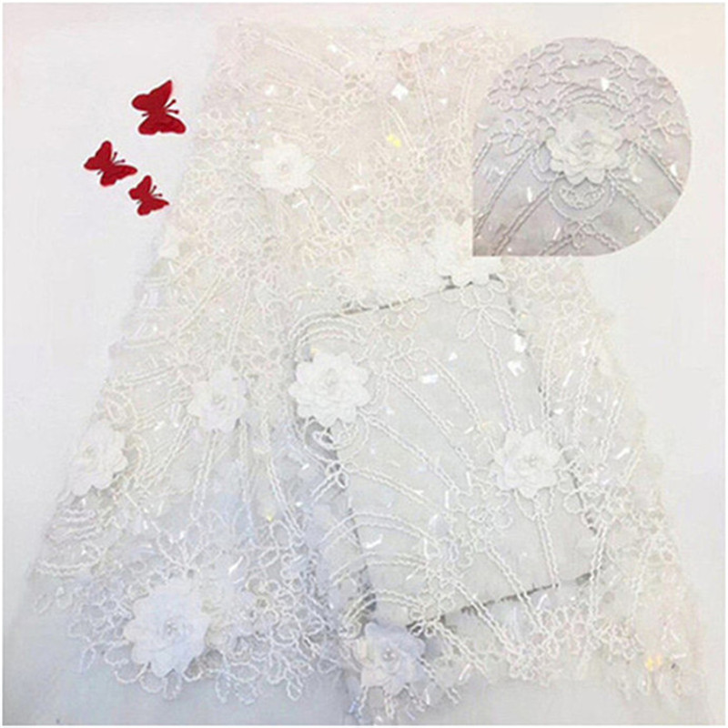 White Color Sequined Embroidered Mesh Tulle Lace Fabric New Design Evening Dresses Net Fabrics French With Beads 5Yards(JJ-5-19White Color Sequined Embroidered Mesh Tulle Lace Fabric New Design Evening Dresses Net Fabrics French With Beads 5Yards(JJ-5-19