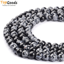 TopGoods Natural Snow Flack Obsidian Gemstone 6 8 10 12mm Runde Loose Spacer Perler DIY Chakra Bracelet Craft Smykker Making
