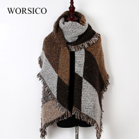 WORSICO Scarves for Women Shawls Winter Scarf Luxury Brand Soft Thicken Plaid Wraps Wool Cashmere Capes Clothes for Women 2017