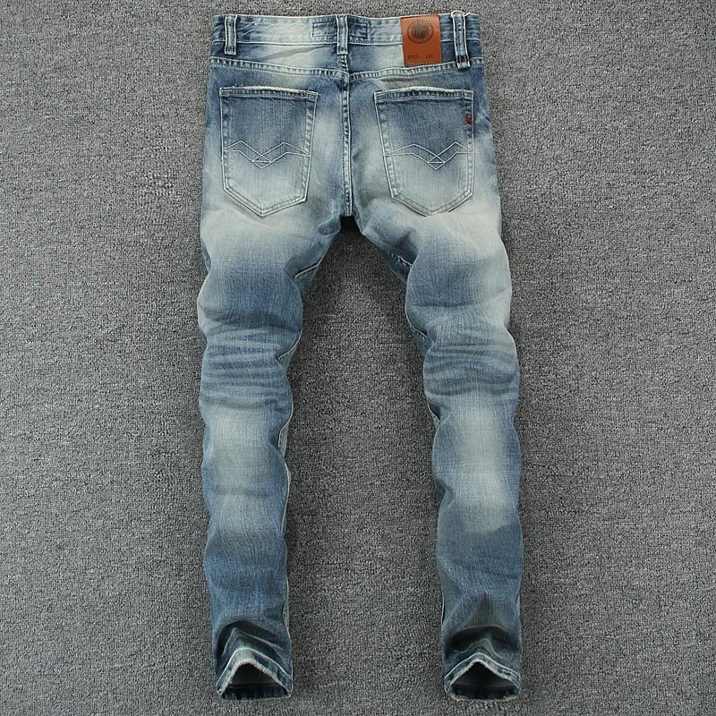 Italian Style Fashion Men's Jeans Blue Color Slim Fit Cotton Classical Jeans Casual Pants Brand Designer Buttons Jeans Men