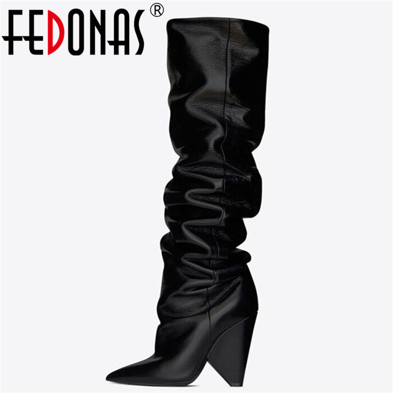 FEDONAS Fashion Brand Women Over The Knee High Boots Sexy Pointed Toe Microfiber Leather Warm Night Club Party Dancing Shoes FEDONAS Fashion Brand Women Over The Knee High Boots Sexy Pointed Toe Microfiber Leather Warm Night Club Party Dancing Shoes