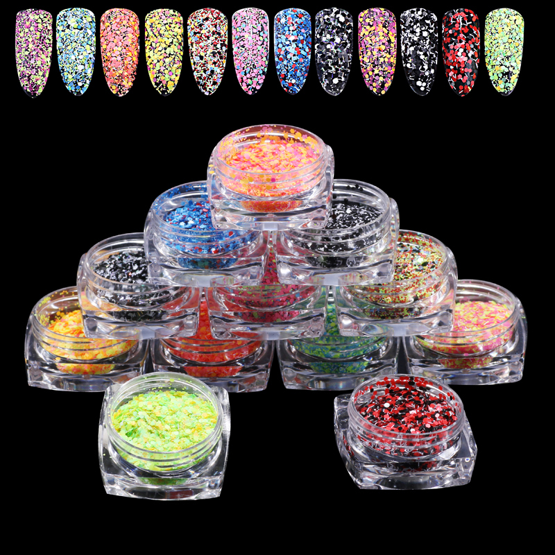 12jars/set colorful sequins 12 candy colors mixed Mini Round Thin Nail Art Glitter powder dust Paillette nail art decorations 3d 12 candy colors glass fragments shape nail art sequins decals diy beauty salon tip free shipping