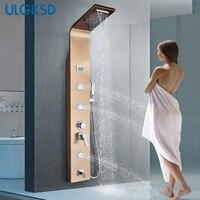 ULGKSD Golden Rose душ Панель дождь водопад Насадки для душа Нержавеющаясталь одной ручкой холодной и горячей воды смесителя