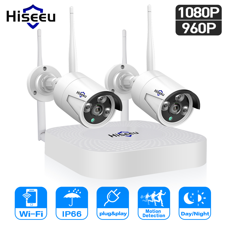 Hiseeu wifi home security camera system wifi 4CH 1080P CCTV NVR Kit 2pcs 960P 1080P wireless