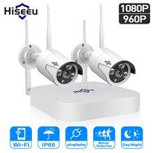 Hiseeu Wi-Fi видео наблюдение для дома камеры безопасности системы 4CH 1080P видеонаблюдение комплект NVR 2 шт. 960 P/1080 P беспроводного ip камера набор видеонаблюдения  P2P