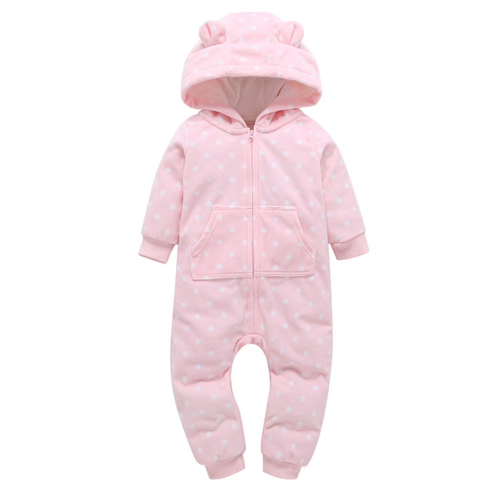 Toddler Newborn Infant Baby Boy Girl Thicker Dots Print Hooded Romper Jumpsuit Home Clothes Long Sleeve Baby Rompers Warm