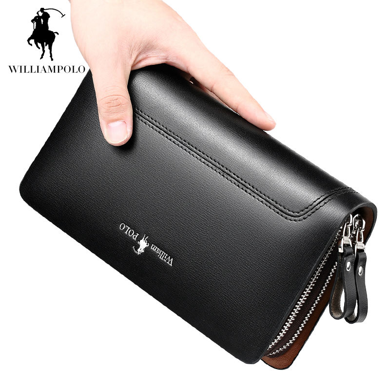 e371118baf WILLIAMPOLO High Capacity Mens Organizer Wallet Genuine Leather Long Purse  Double Zipper Around Men Handbag Clutch Bags POLO188-in Wallets from  Luggage ...