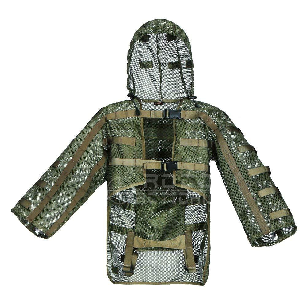 Airsoft Ghillie capuche, Sniper Tog Ghillie combinaison fond de teint hydratation Compatible, vert armée