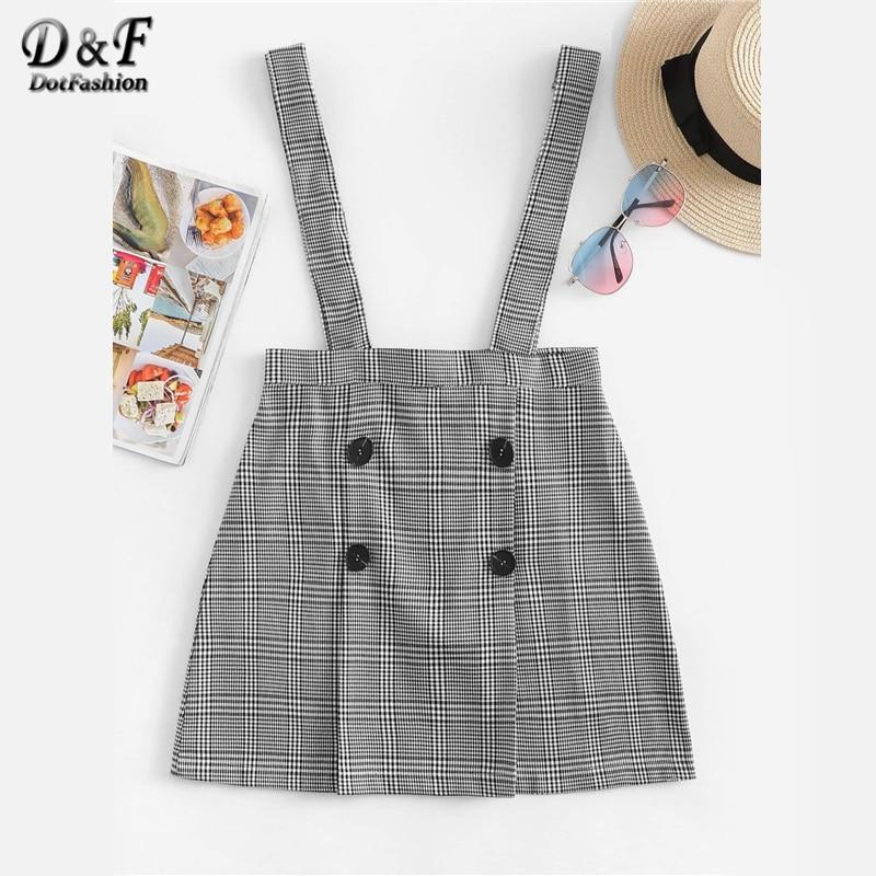 Dotfashion Black Plaid Double Breasted Checked Pinafore Skirt Women 2019 Summer Casual Korean Streetwear A Line High Waist Skirt