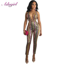 Adogirl Colorful Striped Sequins Jumpsuit women Sexy V Neck Halter Night Club Party Romer Outfits Women Streetwear Overalls
