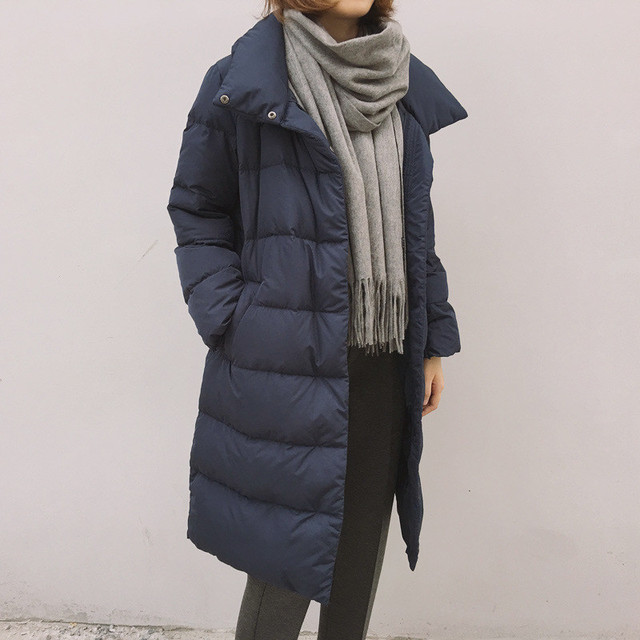 2016 Winter New Fashion Long Coat Loose Thickened Turtleneck Warm Jacket Cotton Padded Zipper Plus Size Outwear Casacos  YY247