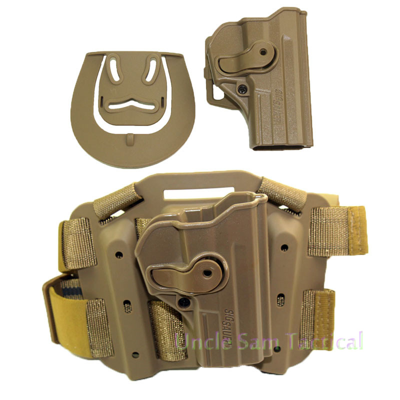 Tactical Airsoft Belt/Thigh Holster Combat Pistol Polymer Retention Roto RH Drop Leg Holster For Sig Sauer Pro SP2022/SP2009