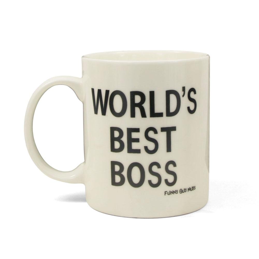 08ba5e3bc7b 1 pieza 11 oz divertido empuñadura Oficina cerámica taza mejor jefe del  mundo taza de café dedo medio en la parte inferior