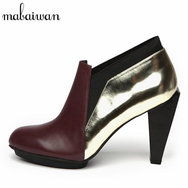 Strange Heel Women Ankle Boots Genuine Leather Elastic Booties Wedge Shoes Woman High Heels Slip On Women Platform Pumps