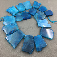 MY1256 MixSize Top drilled Blue Crackle Dragon Veins Agates Large Trapezoid Flat Slice Slab Beads For Jewelry Making