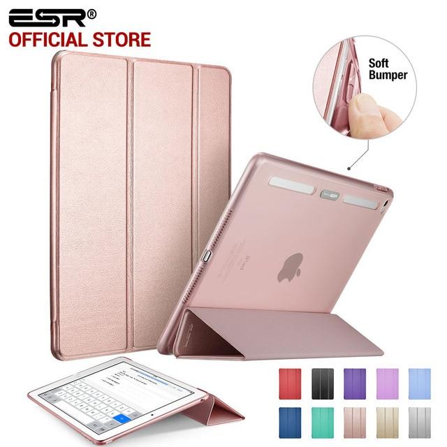 Cas pour iPad Air 2, ESR PU Couverture En Cuir + Tpu Bumper Bord Stand couleur Auto Sommeil Smart case pour iPad Air 2 pour iPad 6