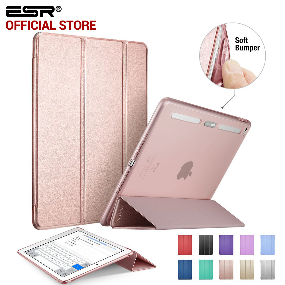 Case for iPad Air 2, ESR PU Leather Front Cover+Soft TPU Bumper Edge Stand color Auto Sleep Smart case for iPad Air 2 for iPad 6 protective abs silicone bumper frame for ipad air purple transparent