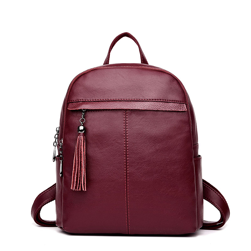 Tassel Women Backpacks Real Leather Genuine Female Travel Shoulder Bag Zipper Backpack High Quality School Bag Girl Mochila 2017