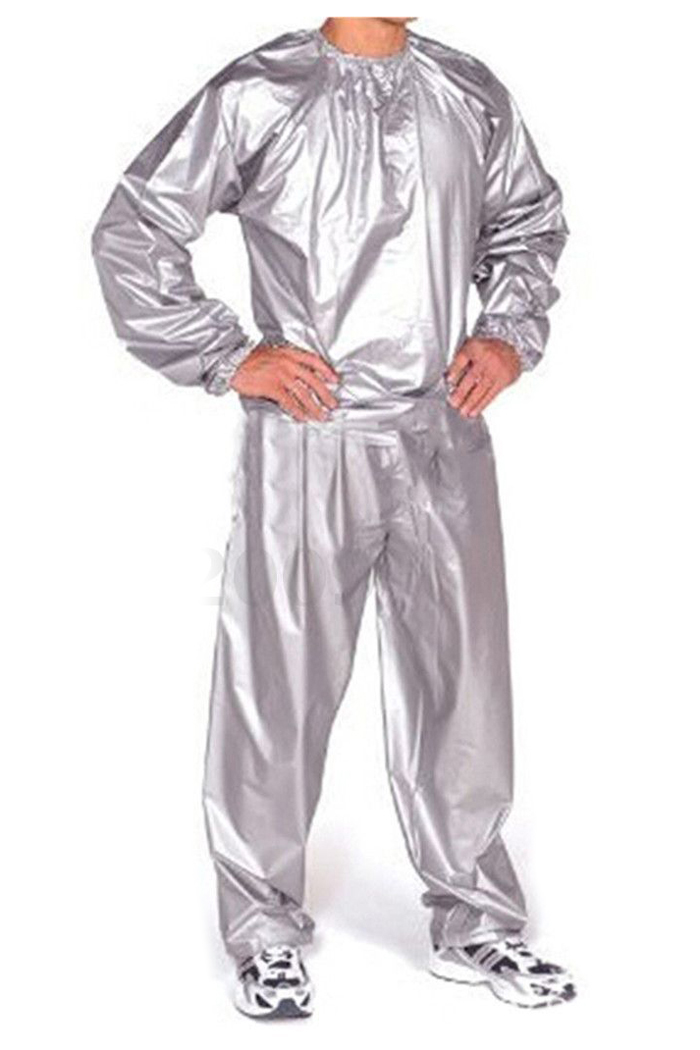 JHO-Heavy Duty Fitness Weight Loss Sweat Sauna Suit Exercise Gym Anti-Rip Silver L