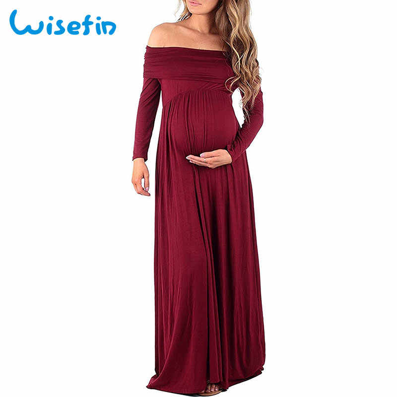 Vestido de maternidad para mujer vestidos largos de verano para embarazadas vestido de mujer sesión de fotos Maxi vestido de maternidad de noche D40