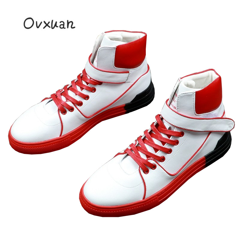 Ovxuan Sport Boots Men Luxury Brand Handmade Red Black Splicing High Top Ankle Sneakers Men Shoes Fashion Party Men Dress Shoes